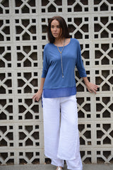 Bamboo Tiered Top Denim - thread to cloth