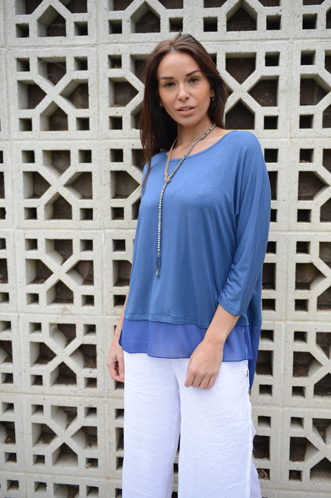 Bamboo Tiered Top Denim