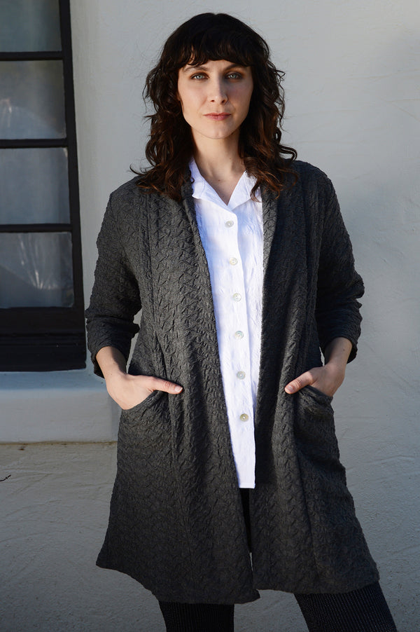 Komil Lamerton Weave Long Coat-Charcoal - thread to cloth