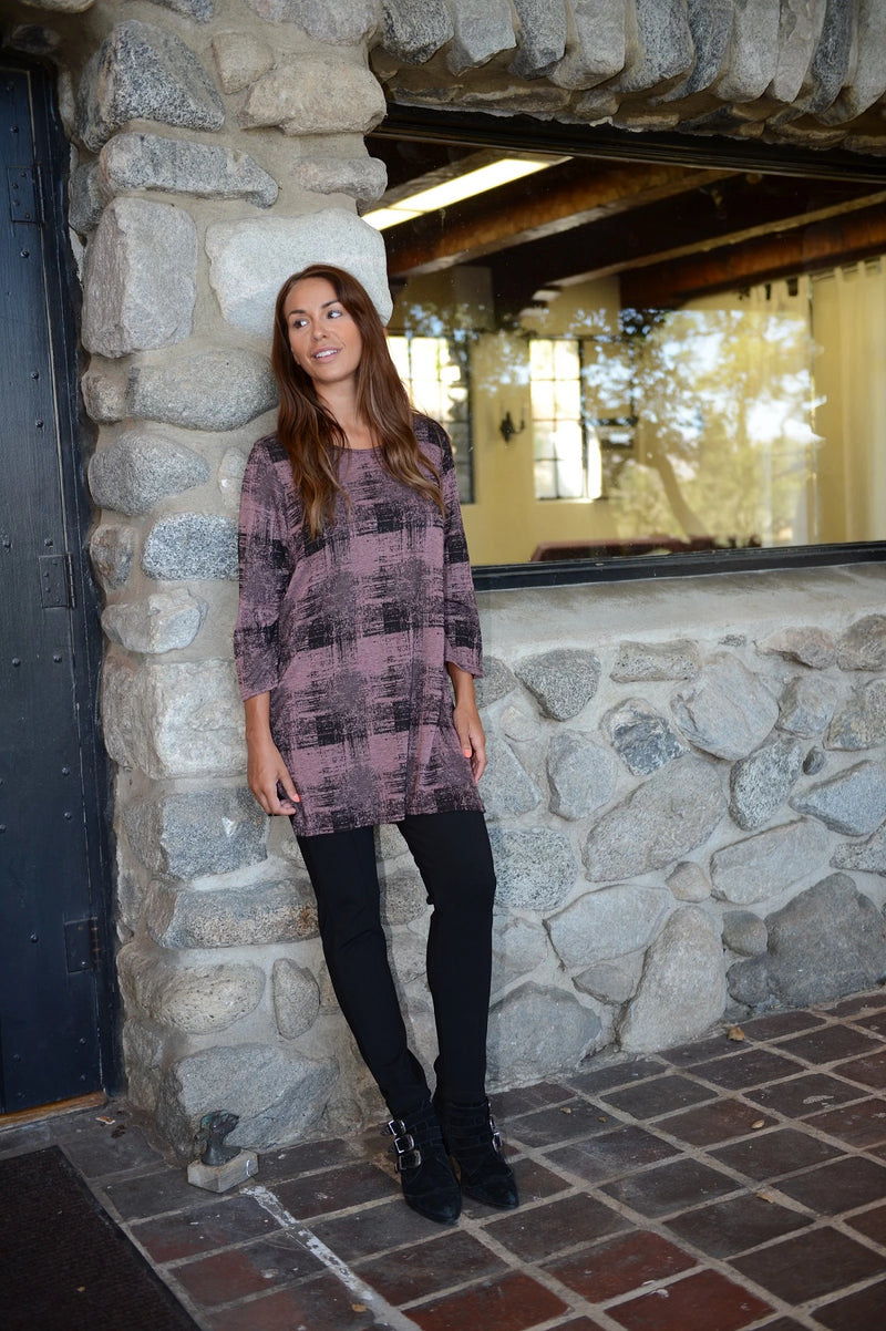 Cut Loose Long Burst Plaid Tunic Top - thread to cloth