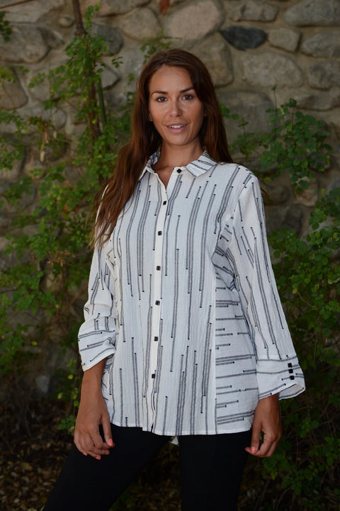 Habitat Peruvian Stripe Shaped Shirt - thread to cloth