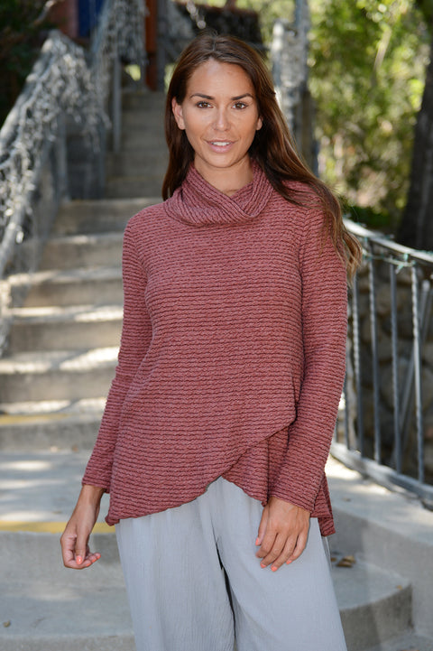 Ribbed Textured Turtle Neck Top-Harvest