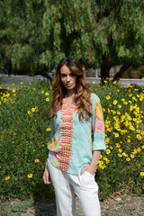 Floral cotton embroidered top in mint