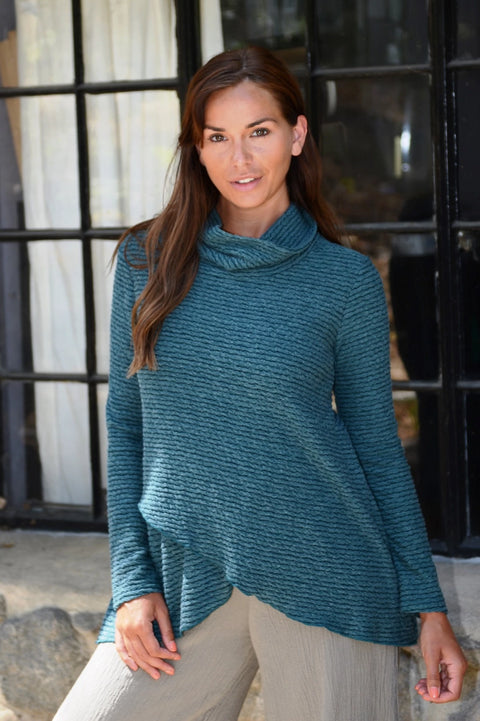 Ribbed Textured Turtle Neck Top-Emerald - thread to cloth