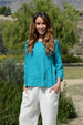 Color Me Cotton Linen Top w/ Front Button Tabs