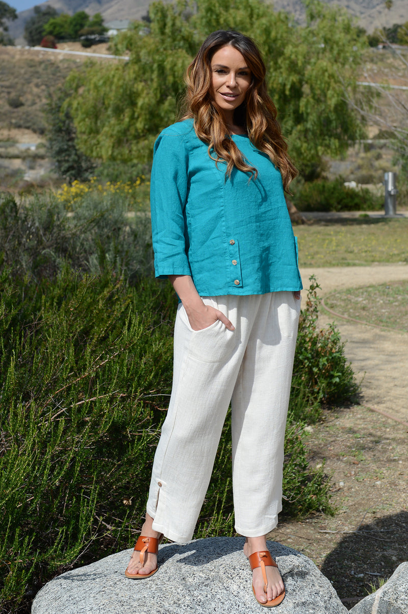 Habitat Button Flood Pant in Oatmeal