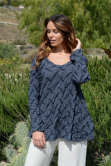 Komil Puckered Stripe Navy Tunic