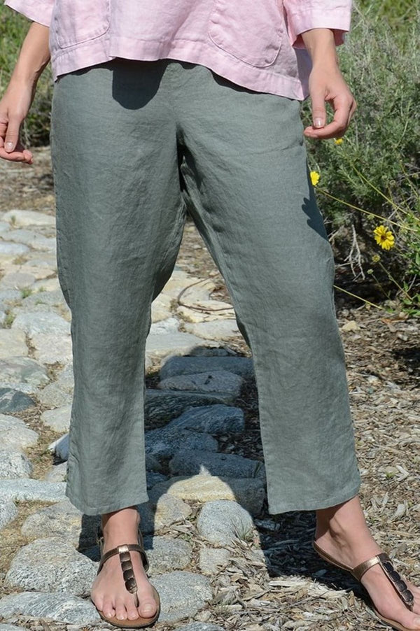 FLAX Pocketed Ankle Linen Pant Green Tea- FLAX Classics 2020