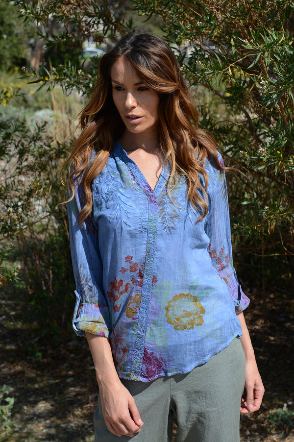 Floral Printed Embroidered Cotton Top/ Vintage Wash Cornflower