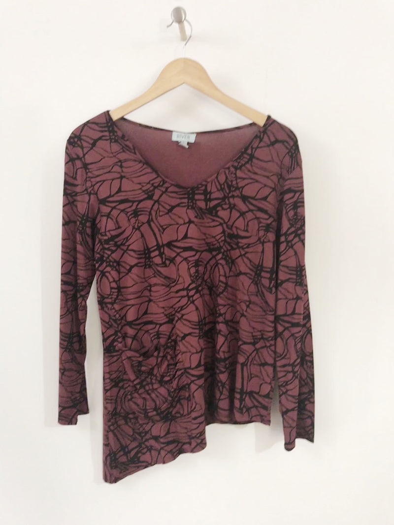 Viscose Print V Neck Asymmetrical Top By Wind River - thread to cloth