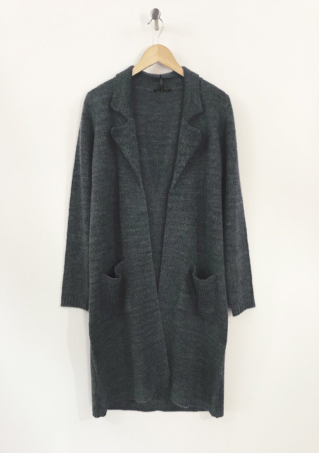Yest Melange Woman's Sweater Coat-Black