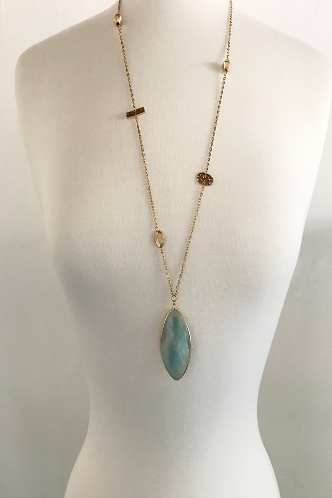 Amazonite Tear Drop Necklace - thread to cloth