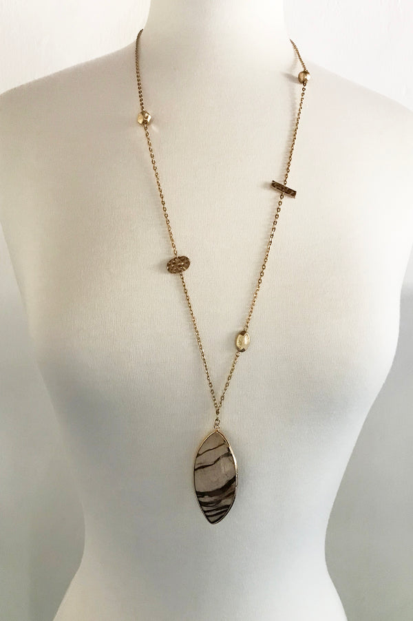 Brown Agate Necklace - thread to cloth