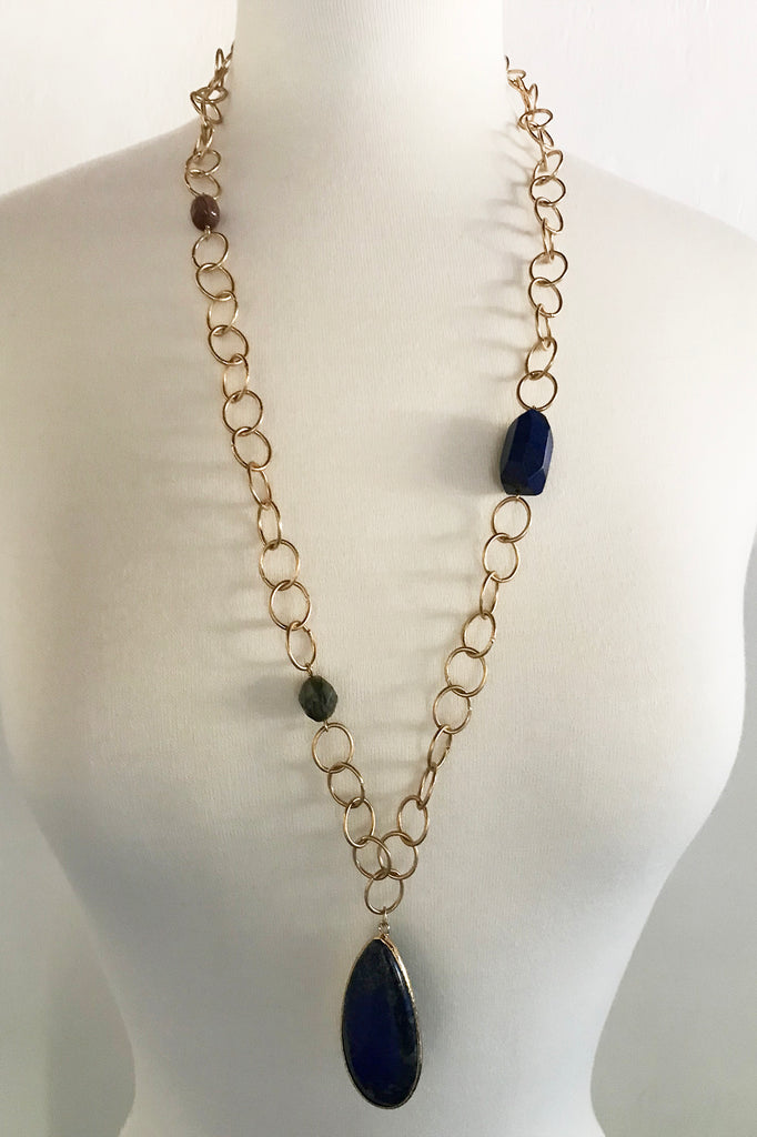 Blue Stone w/Circles Necklace - thread to cloth