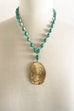 Amazonite Jasper Turq Circle  Necklace - thread to cloth