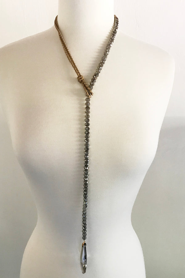 Rhinestone with Crystal Drop Necklace - thread to cloth