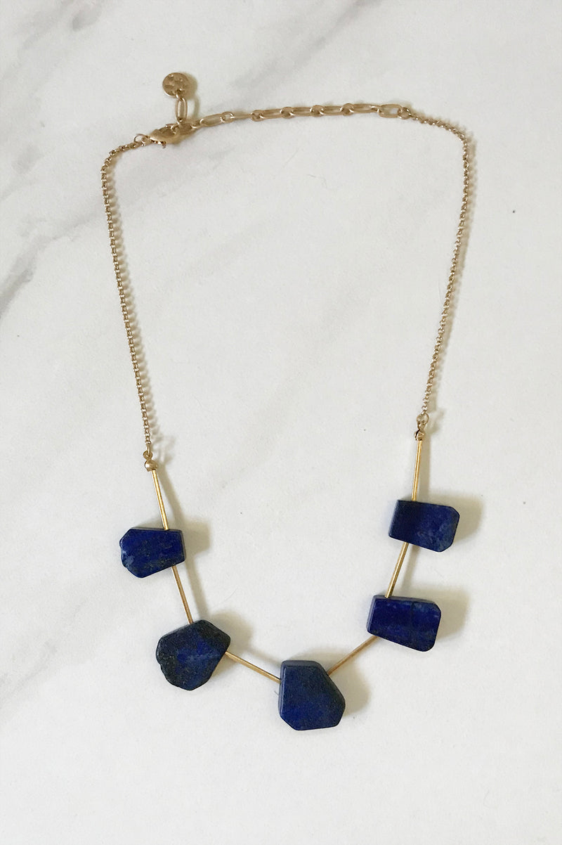 Blue Sodalite Necklace - thread to cloth