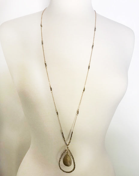 Crystal Teardrop Necklace - thread to cloth