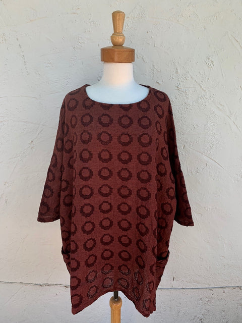 cut loose textured dot tunic for fall