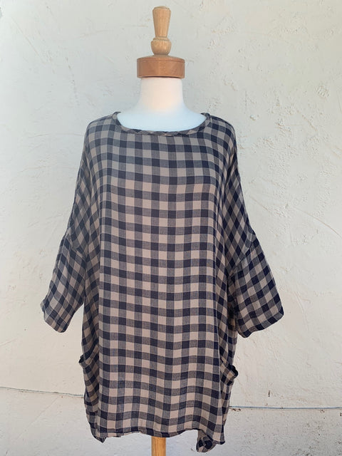 cut loose checkered long one size tunic top for fall