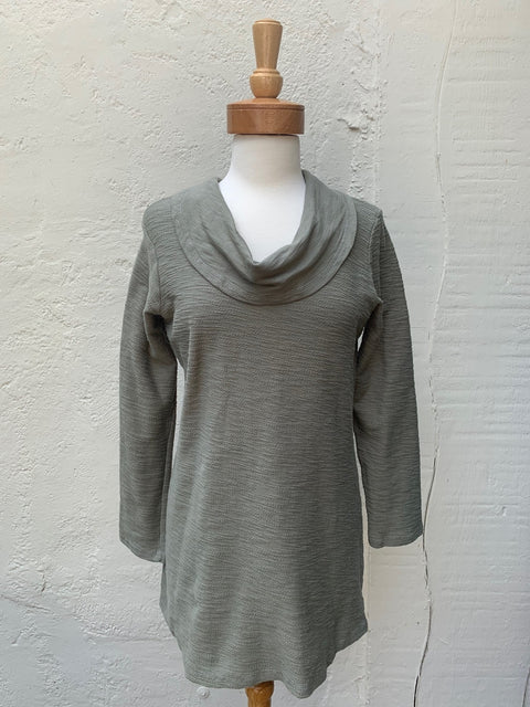 Color Me Cotton Slub French Terry Cowl Neck Textured Tunic in Loden by Color Me Cotton