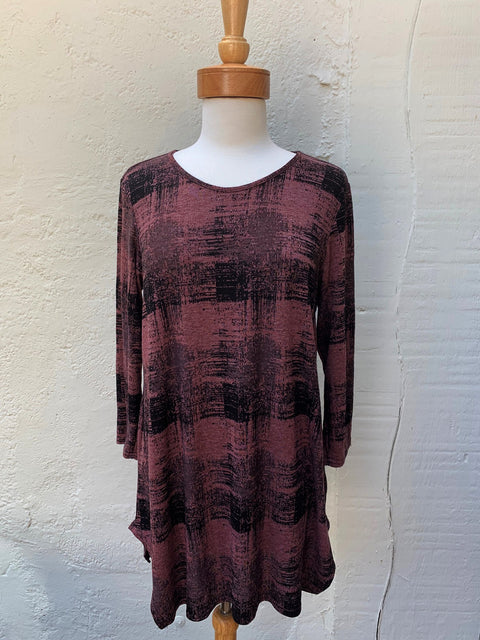 Cut Loose Tunic Long Burst Plaid Top in Congac
