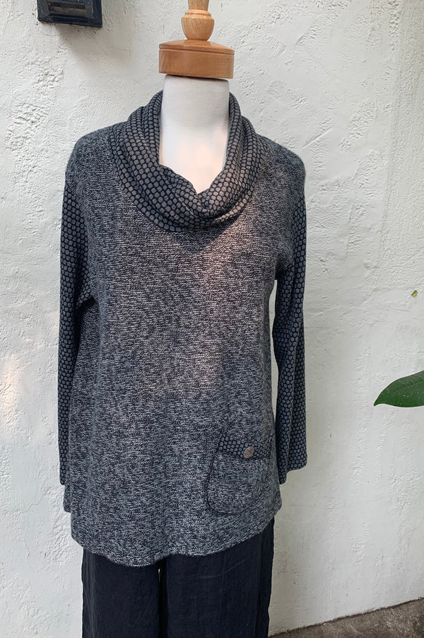 Luca Vanucci Button Cowl Sweater Top-Charcoal Dots