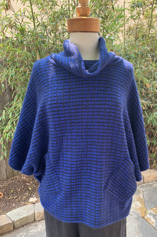 Luca Vanucci Cowl Sweater Poncho Top-Royal Blue