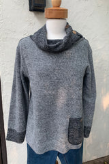 Luca Vanucci Button Cowl Sweater Top Navy and Silver