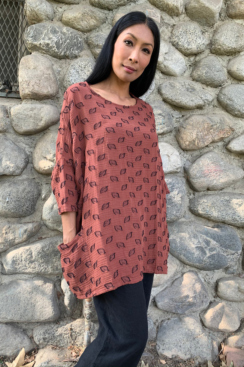 One size Pullover Top Leaf Jacquard- Fall 2020