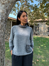 Luca Vanucci Button Cowl Sweater Top -Silver