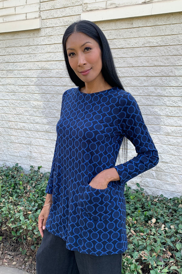 Komil Stitch Spot Tunic- Blue