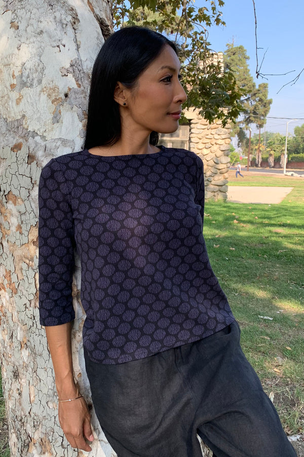 Cut Loose 3/4 Sleeve Boatneck Top Graphic Dot- Fall 2020