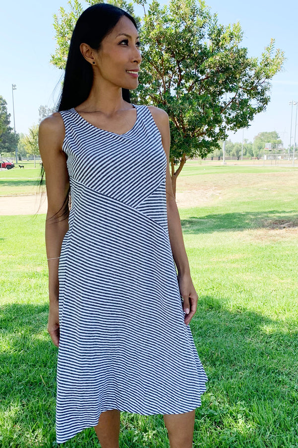 Cut Loose Seamed Tank Dress Mini Stripe