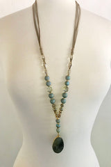 Grey Quartz & Stone Necklace - thread to cloth