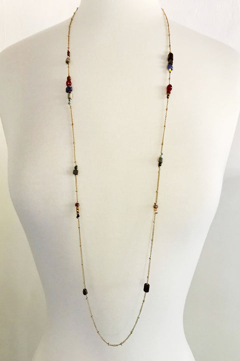Small Stones & Crystals Necklace - thread to cloth