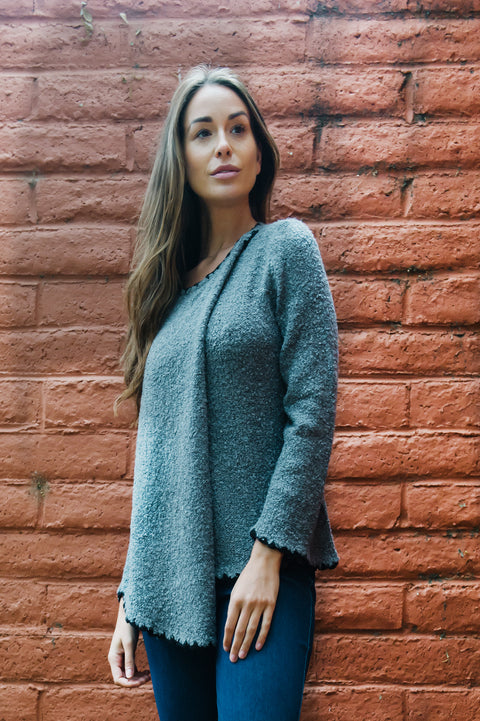 Boucle Scalloped Trim Sweater By Wild River