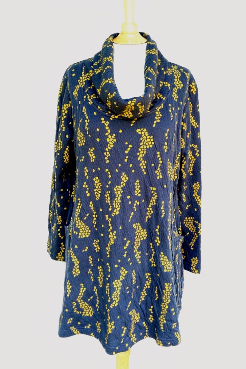 Komil Rock Texture Weave Cowl Navy Tunic - thread to cloth