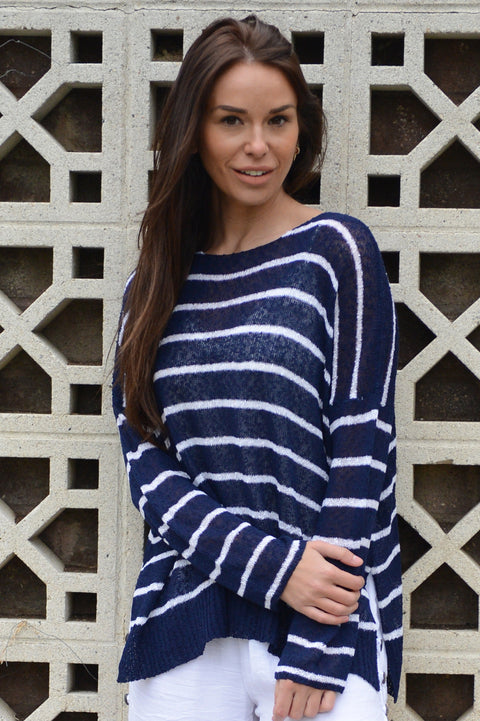 Wind River Feather Boulce Navy Stripe Sweater - thread to cloth