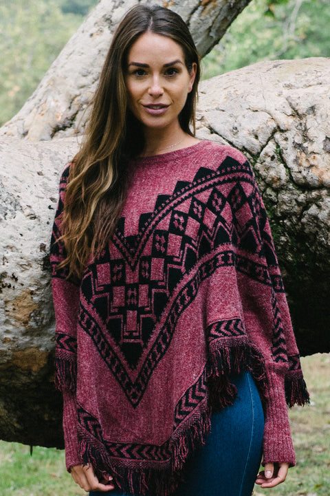 Dakota Patterned Women's Poncho by Pappa Of Vancouver