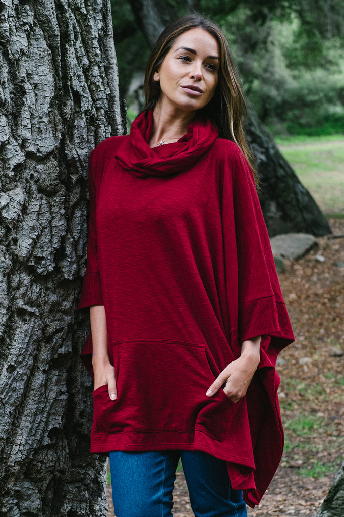 Double Cotton Slub  Turtleneck Poncho Top By Wind River - thread to cloth