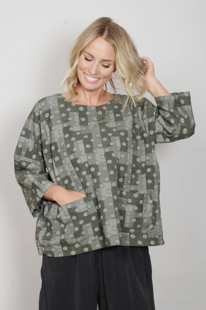 Dot Jacquard Boxy Woman's Top By Cut Loose Clothing