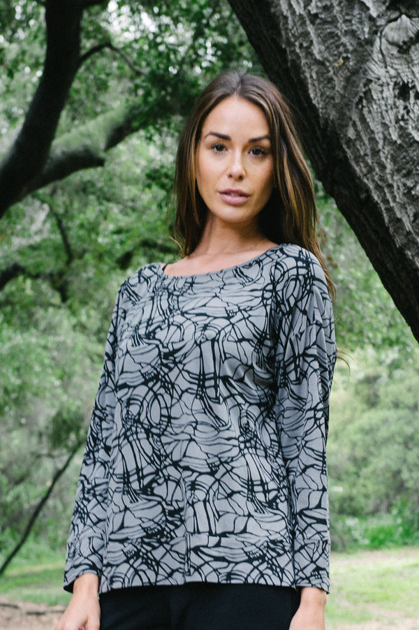 Viscose Print Boat Neck Top By Wind River - thread to cloth