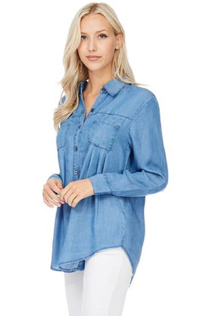 Tencel Chambray Button Long Top