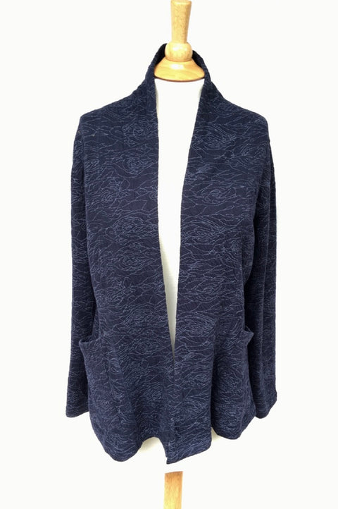 Komil  Rose Texture Weave Navy Jacket - thread to cloth