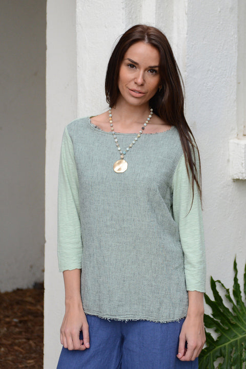 Cut Loose Cross Hatch Linen Combo Top