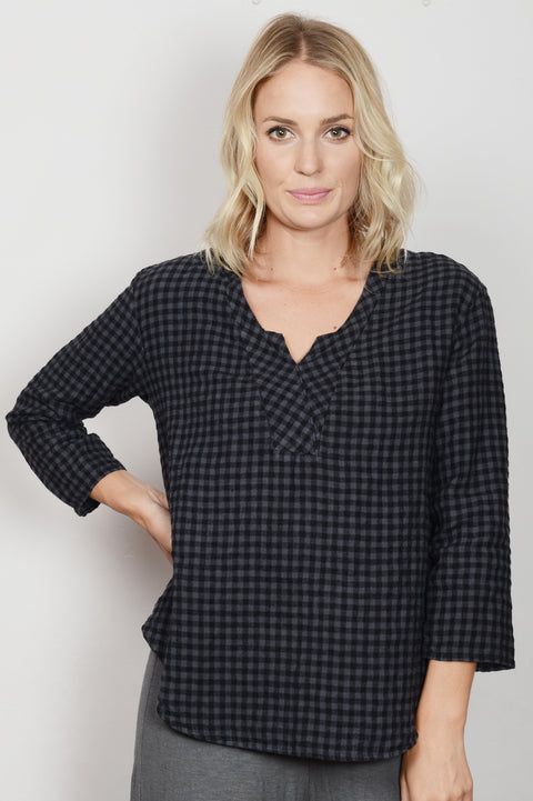 womens brushed mini check pullover top by cut loose clothing