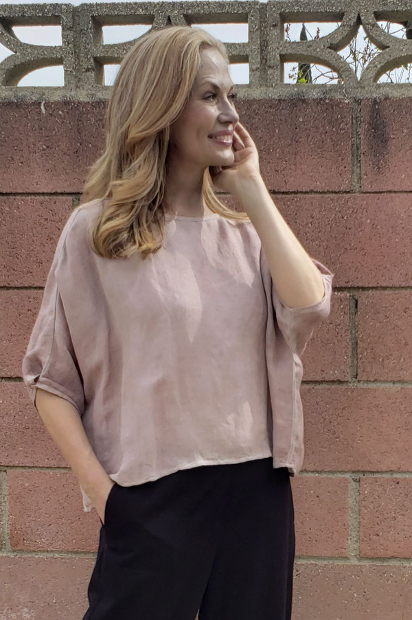 Linen Dropped Shoulder Top- Dusty Pink