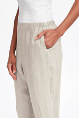 Flax linen pocketed ankle pant by flax