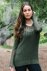 V Neck Open Weave Sweater - thread to cloth